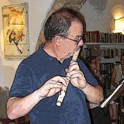 Mario Bolognano playing the flauto traverso